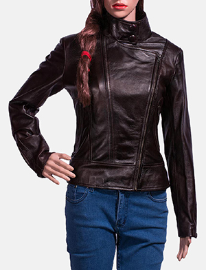 Womens Smolder Black Leather Biker Jacket