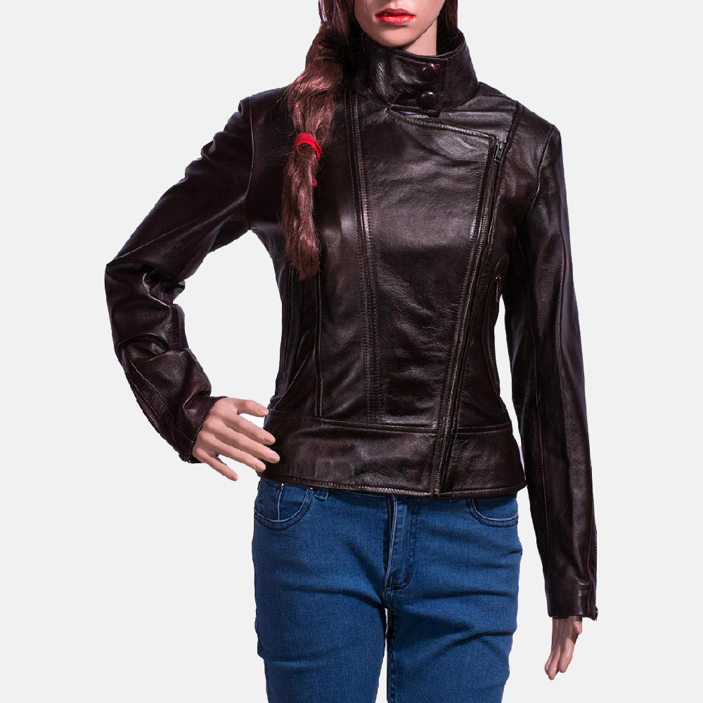 Womens Smolder Black Leather Biker Jacket 1