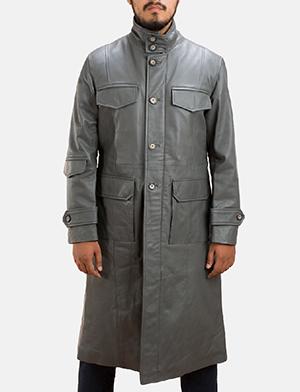 Mens Steel Silver Leather Long Coat 1