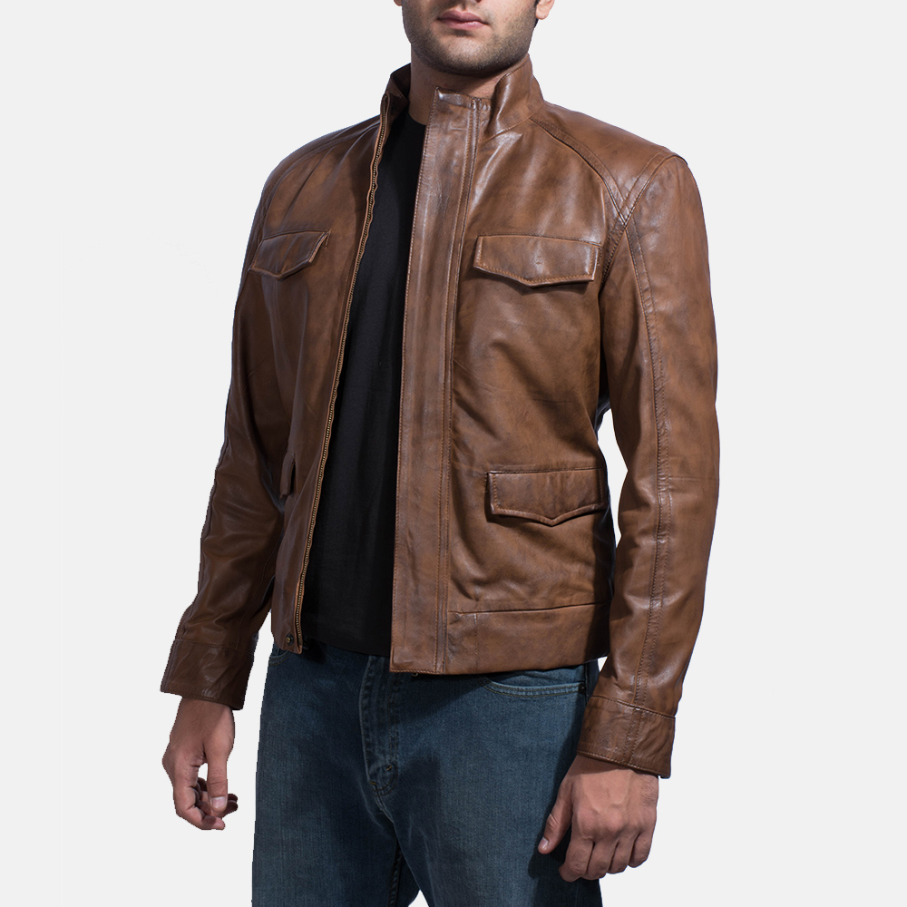 Mens Smudge Brown Leather Biker Jacket 3