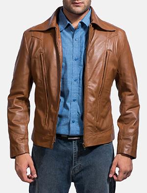 Mens Old School Brown Leather Jacket