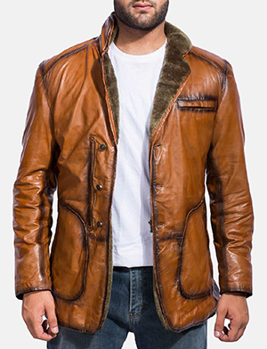 Mens Rocky Brown Fur Leather Coat