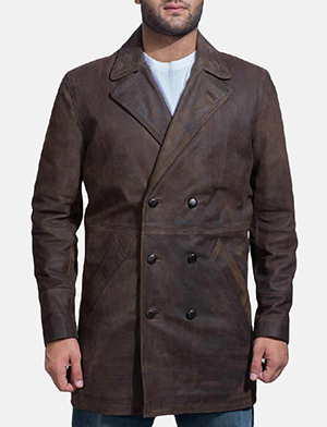 Mens Half Life Brown Leather Coat