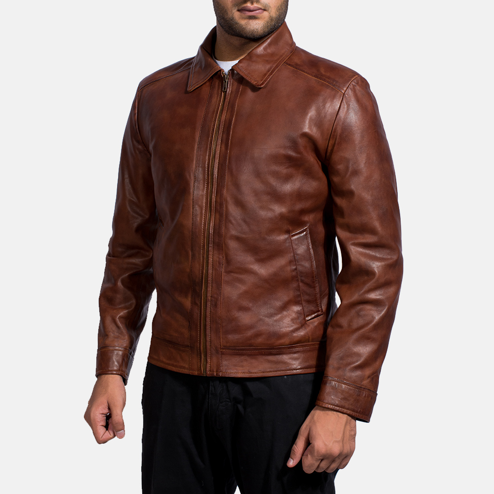 Mens Inferno Brown Leather Jacket 2