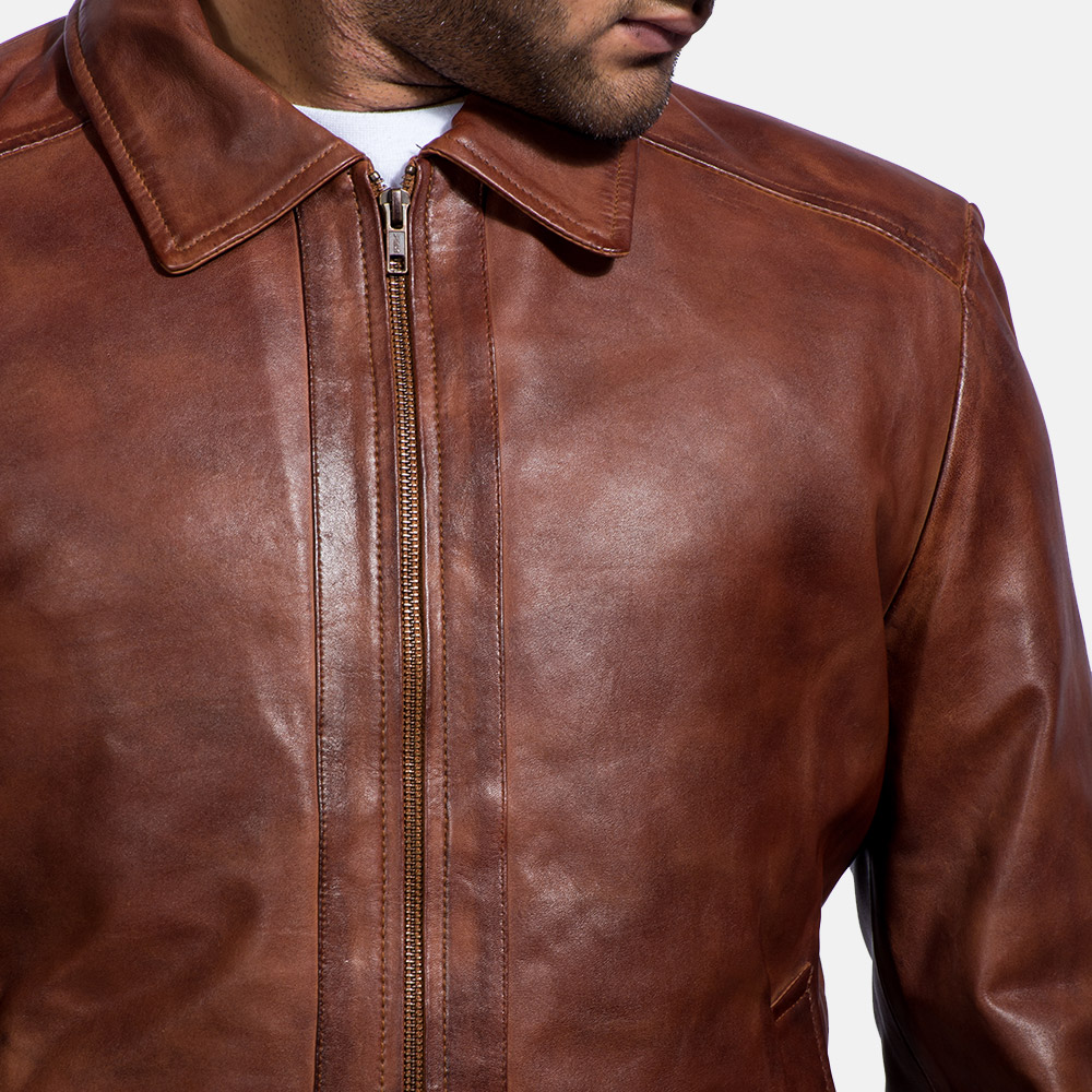 Mens Inferno Brown Leather Jacket 3