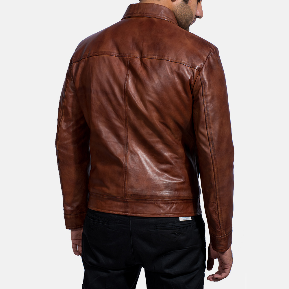 Mens Inferno Brown Leather Jacket 5