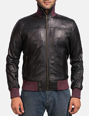 Mens Upscale Black Leather Bomber Jacket