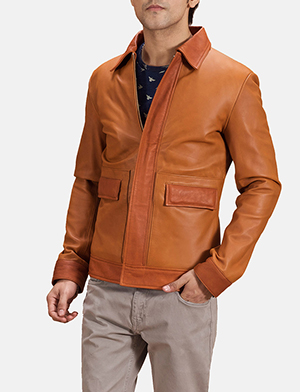 Mens Hubert Tan Brown Leather Jacket