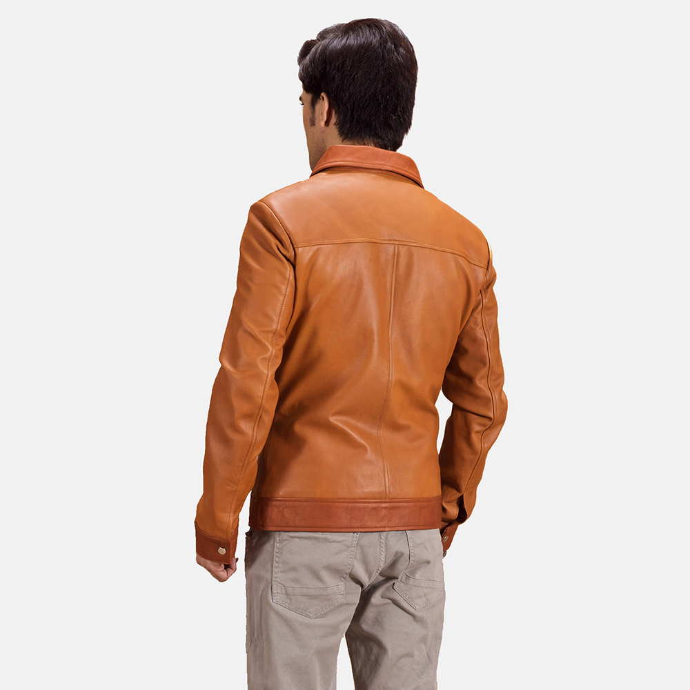 Mens Hubert Tan Brown Leather Jacket 4