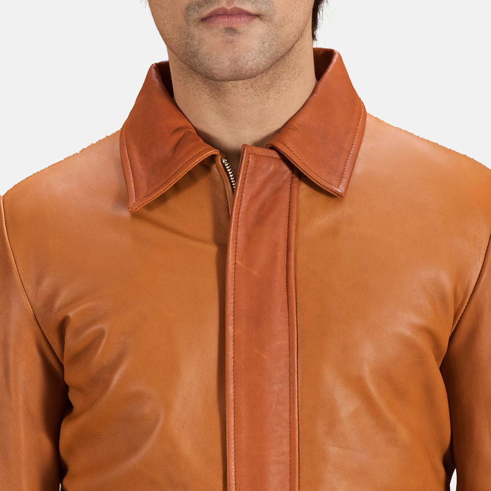 Mens Hubert Tan Brown Leather Jacket 5