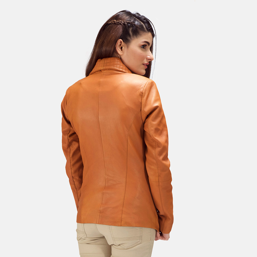 Womens Lee Tan Brown Leather Blazer 4