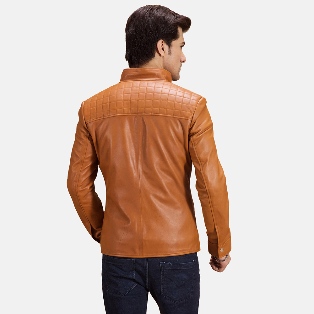 Mens Voltex Tan Leather Biker Jacket 4