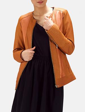 Womens Sleeky Clean Tan Leather Biker Jacket