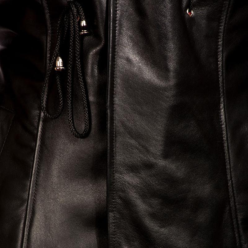 Mens Dracullum Black Leather Coat 6