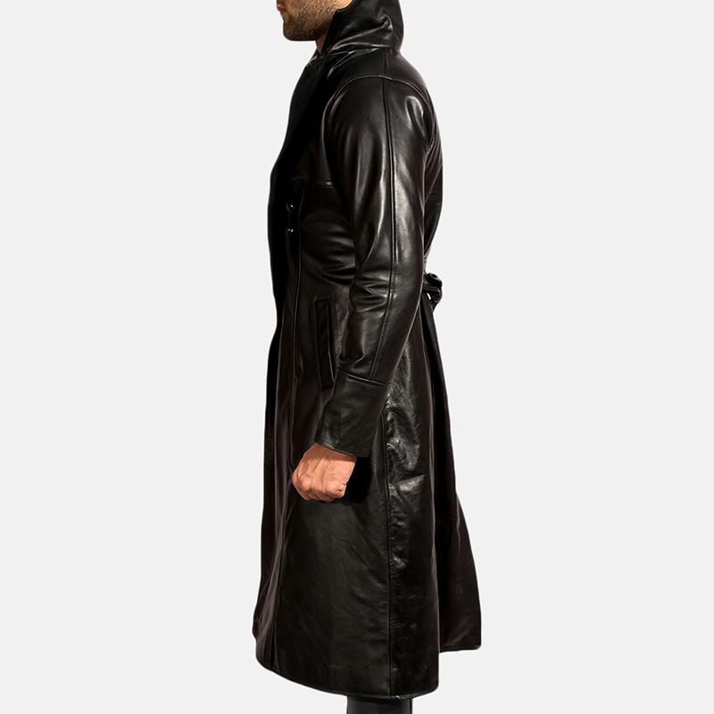 Mens Dracullum Black Leather Coat 7