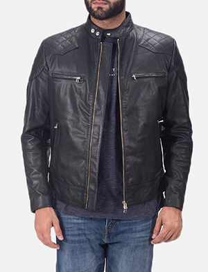 Mens Gatsby Black Leather Biker Jacket