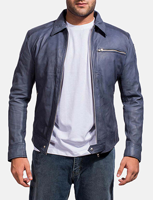 Lavendard Blue Leather Biker Jacket