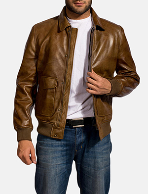 Coffmen Brown Leather Bomber Jacket