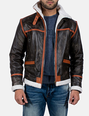 Mens Alpine Brown Fur Leather Jacket