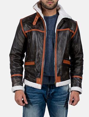 Mens Alpine Brown Fur Leather Jacket