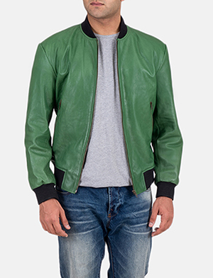 Mens Shane Green Leather Bomber Jacket