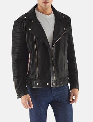 Highfield Black Leather Biker Jacket