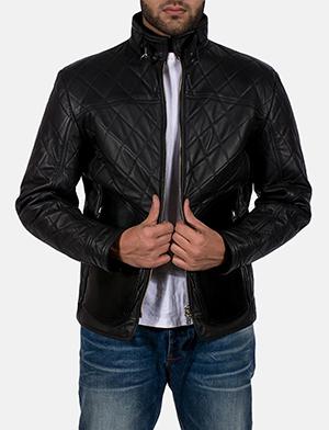 Mens Equilibrium Black Leather Jacket