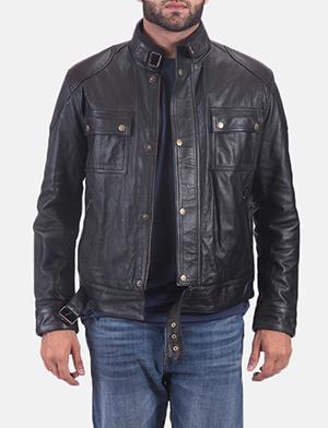 Mens Krypton Black Leather Jacket