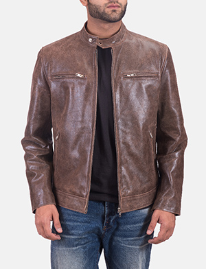 Mens Latte Brown Leather Jacket