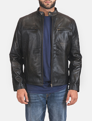Mens Rustic Black Leather Biker Jacket