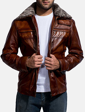 Mens Evan Hart Fur Brown Leather Jacket
