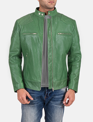 Mens Gatsby Green Leather Biker Jacket