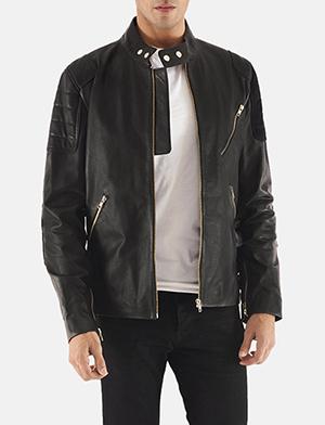 Mens Marlon Black Leather Biker Jacket