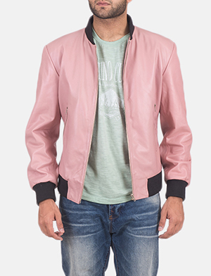 Men's Shane Pink Leather Bomber Jacket