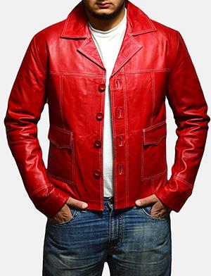 Mens Jarama Red Leather Coat 1