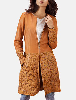 Sandy Tan Dye Leather Coat