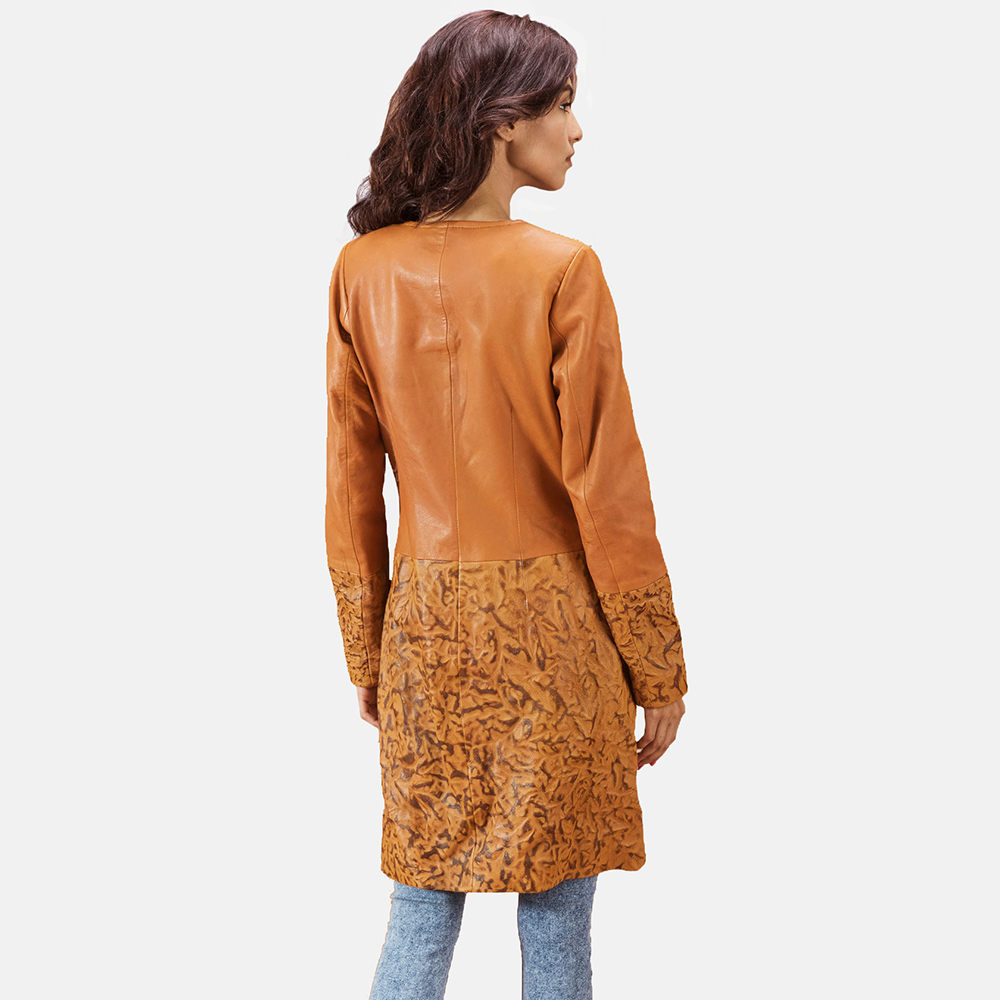 Womens Sandy Tan Dye Leather Coat 5