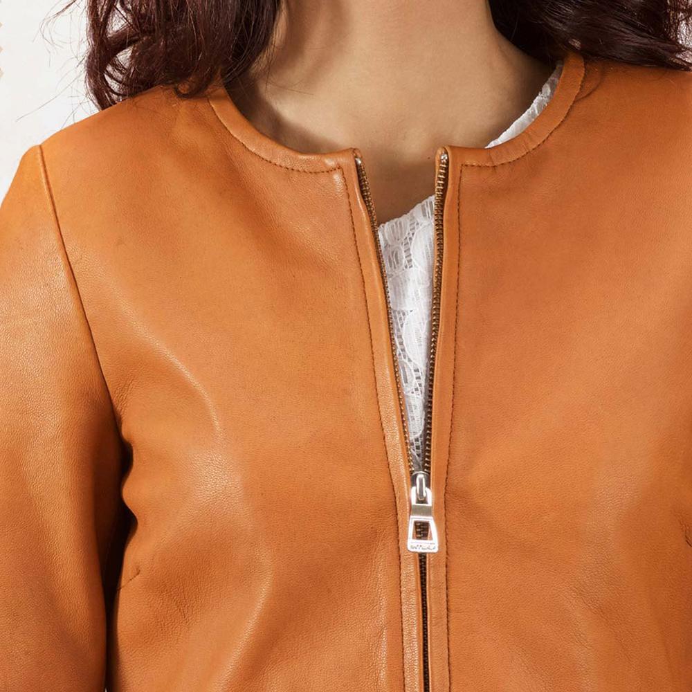 Womens Sandy Tan Dye Leather Coat 4
