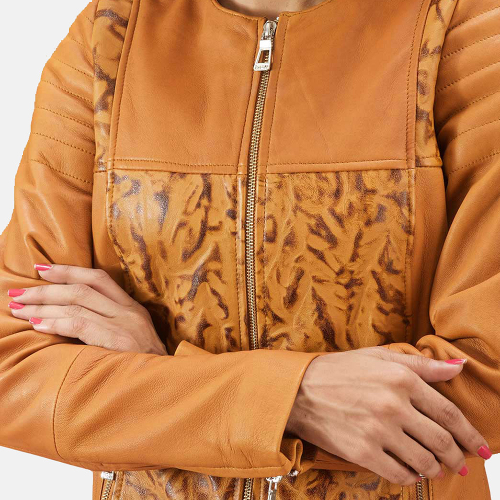 Womens Sandy Tan Dye Leather Biker Jacket 5