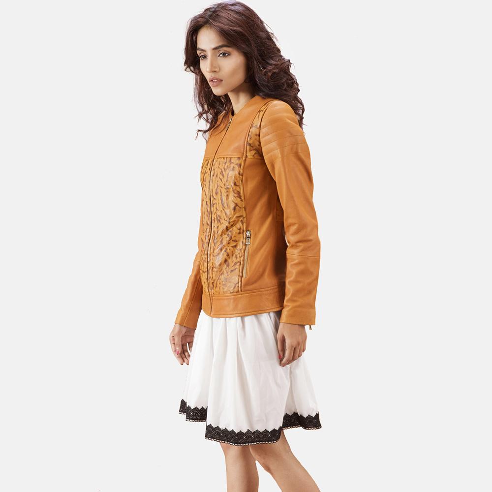 Womens Sandy Tan Dye Leather Biker Jacket 4