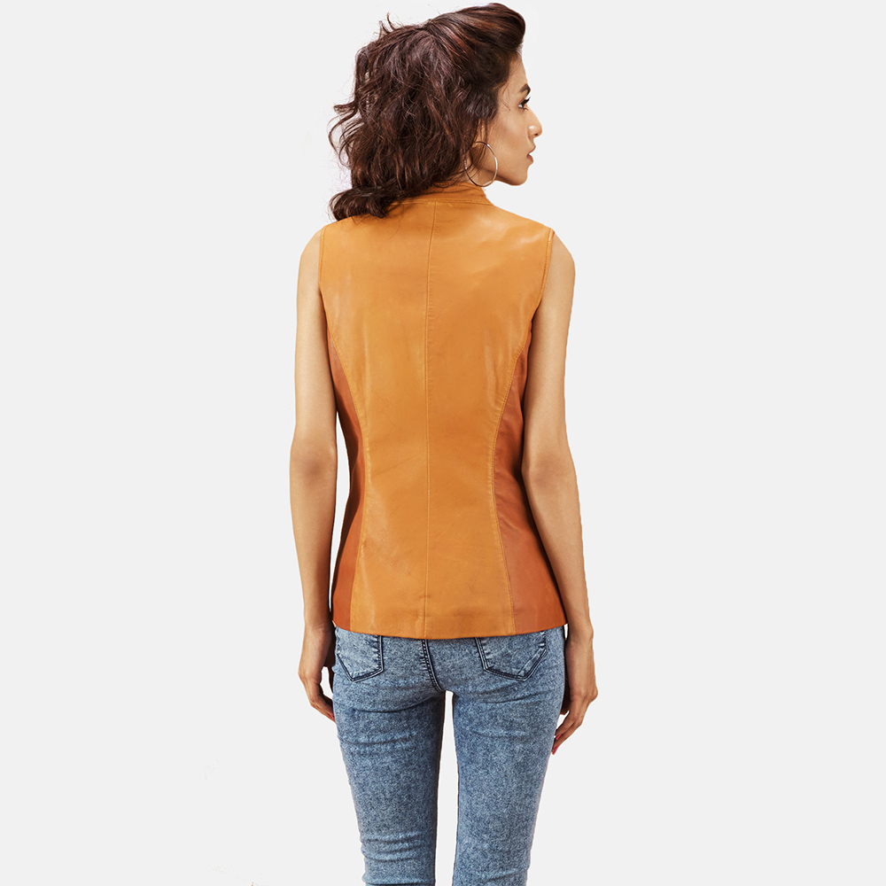 Womens Westina Tan Dye Leather Vest 5