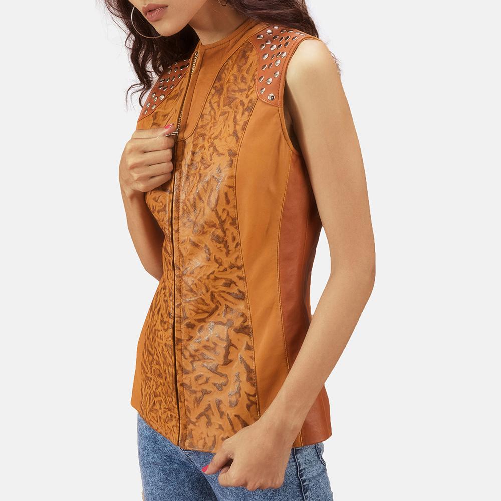 Womens Westina Tan Dye Leather Vest 6