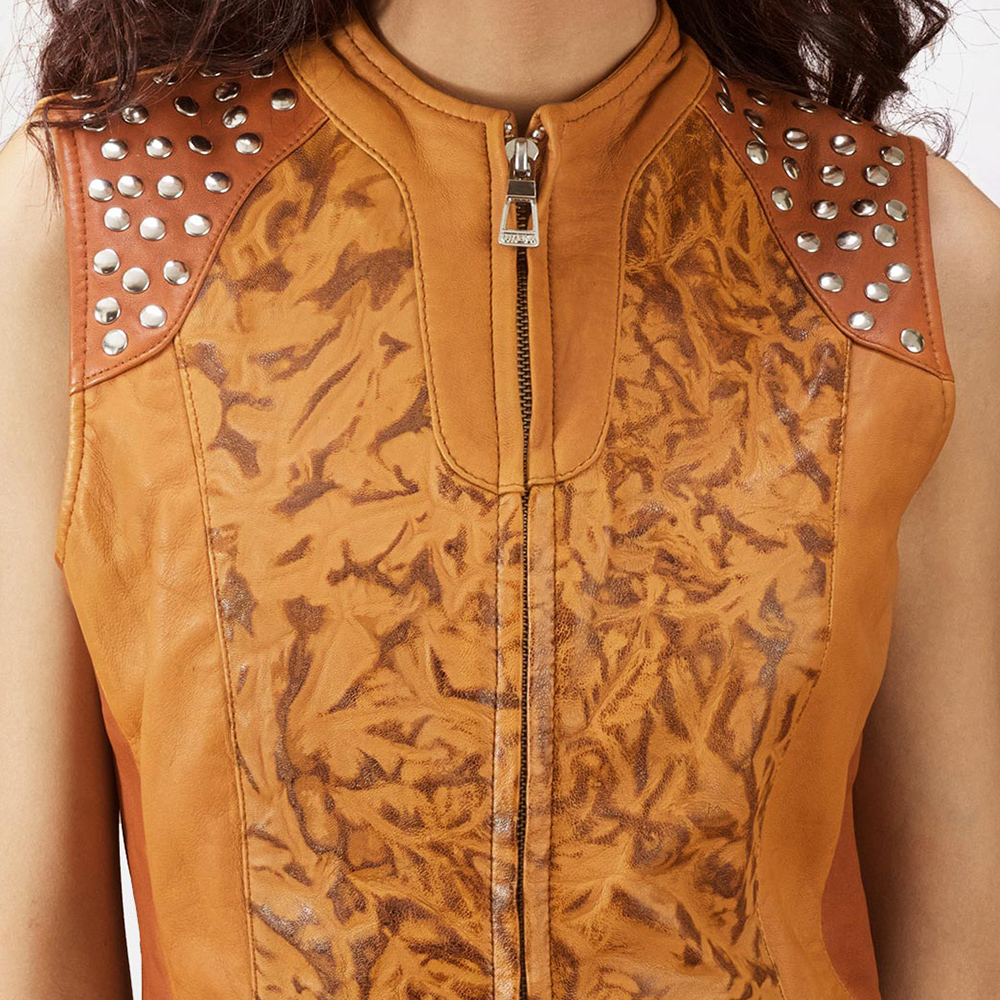 Womens Westina Tan Dye Leather Vest 4