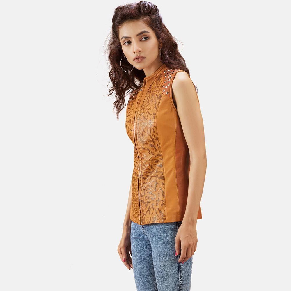 Womens Westina Tan Dye Leather Vest 3
