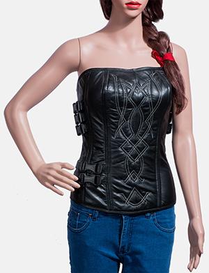 Womens Tribal Black Leather Vest 1