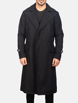 Men's Detective Black Wool Coat