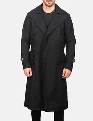 Men's Detective Black Wool Coat