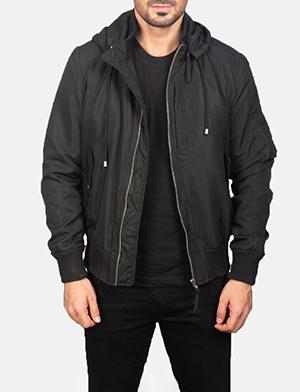 Men's Hanklin Ma-1 Black Hooded Bomber Jacket