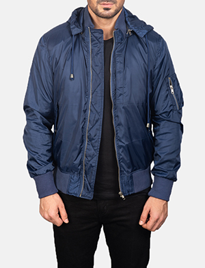 Men's Blue Hooded Bomber Jacket