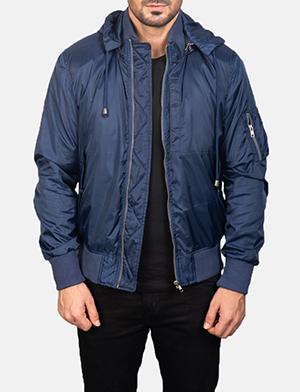 Men's Blue Hooded Bomber Jacket